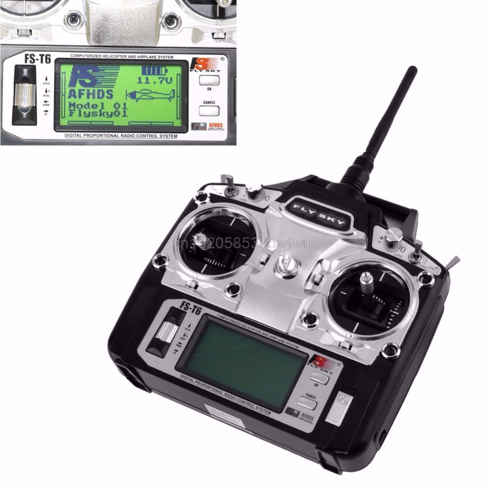 Flysky FS-T6 6CH 2.4GHz Transmitter Receiver For RC Helicopter Multicopter Plane #HC6U# Drop shipping flysky fs t6 6ch 2 4ghz transmitter