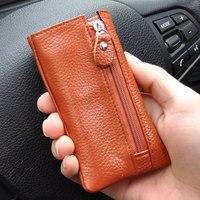Mode Hommes En Cuir Véritable Clé De Voiture Portefeuille, Mini Porte-Monnaie, solide couleur Titulaire de la Carte de Crédit, multi-fonction