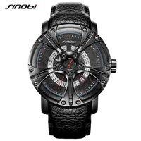 SINOBI Men Watches Shock Military Watch Style Eagle Claw Leather Strap Sport Quartz Watches Top Brand