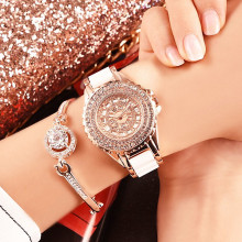 Women's Waterproof Quartz Full Rhinestone Watch Ceramic Strap Hot-Sale Casual Fashion Student Female Watch