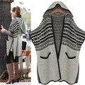 [XITAO] 2016 Autumn/Winter Korea Pockets Decoration Jacquard Shawl Knitting Open Stitch Female Cardigan Sweater with Hat LYA-010