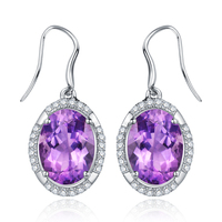 Sunset Glow Luxury 8 5ct Natural Amethyst Sterling Silver Oval Dangle Earrings
