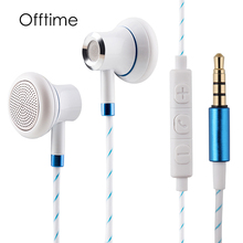 Offtime M14 metal earphone handsfree headphones super bass 3.5mm earbuds high quality sport gamer headset with mic for phone Mp3