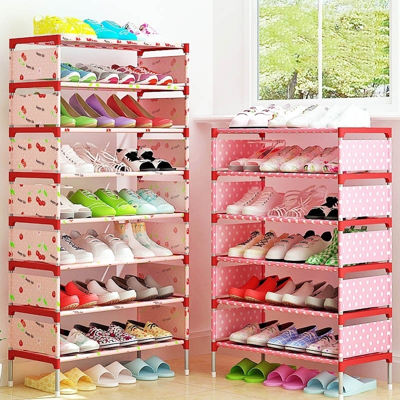 Storage Shoe Rack Pink Yellow Cabinet Organizer Holder Multi Layers Assemble Shoes Shelf Home Living Room Furniture Shoe Racks