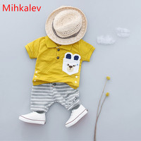 Mihkalev Baby Boy Summer Clothes Sets 2018 Short Sleeve T Shirt Pants 2pcs Boys Gentleman Suit