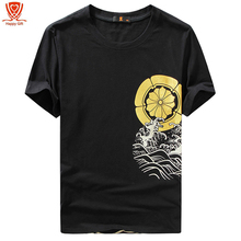 New Arrival Men's Fashion Golden Koi Sea Wave Design T Shirt Cool Tops Short Sleeve Hipster Tees