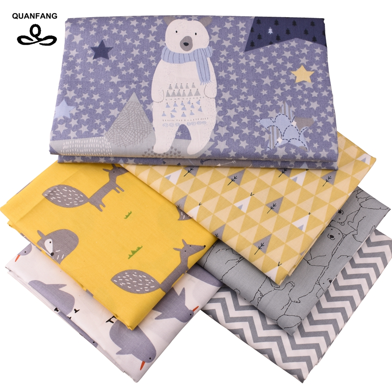 QUANFANG 6 шт./партия или 50x160 см/шт. Печатная твиловая, хлопковая ткань для пэтчворк DIY стеганая швейная ткань материал для малышей