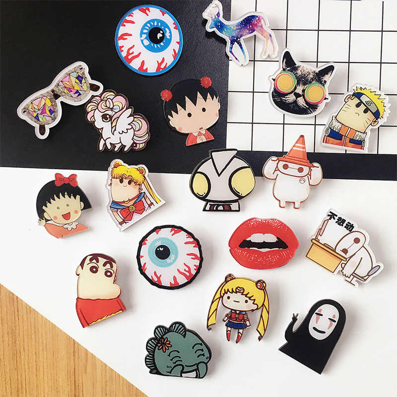 Cartoon Eye Mouth Pins Hard Enamel Lapel Pins Badges Brooches Backpack Jacket Accessories Jewelry Pins Collection for Women Men