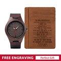 BOBO VOGEL Personalisierte Holz Uhr und Leder Brieftasche Geschenk Set für Männer Kredit ID Karte Halter Geschenk Für Ihn Urlaub geschenk