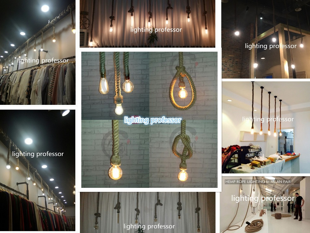 Creative Personality Hemp Rope Pendant Lights Vintage Restaurant Lamp Dining Room Lamps Light