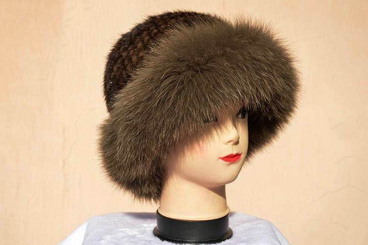 Chapeau en fourrure de vison naturel