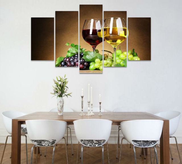 5pcs Art HD Print Wine Glasses Painting Modern Home Decor Dining Room Print Wall  Art Painting
