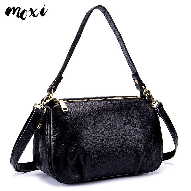 Moxi Female Messenger Bag Genuine Leather Women Shoulder Bag Double Shoulder Strap Women s Handbag Daily