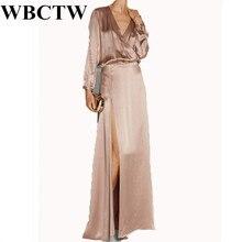 Robe Longue Femme Ete Solid 5XL 6XL 7XL Plus Size Long Sleeve Champagne Elegant High Waist Woman Dress Open Slide Satin Dress