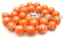 "ddh0079 SALE Big 13-14mm Round Pink high quality natural Coral 18"" Necklace (B0409)(China)"