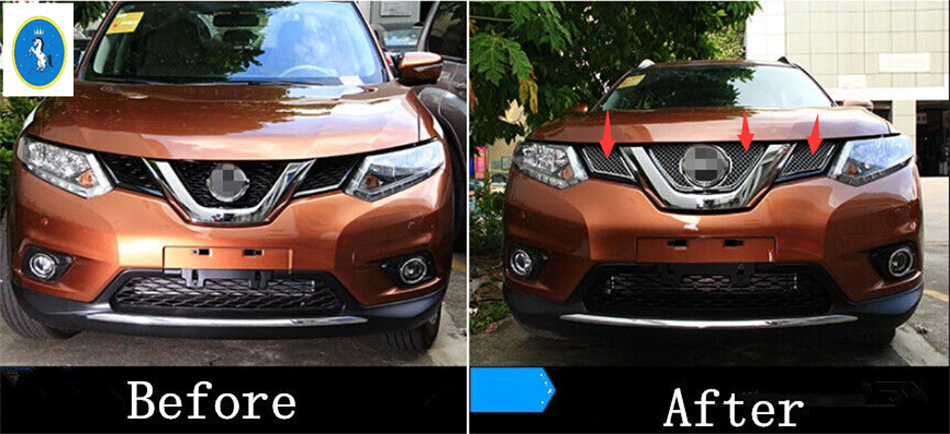 все цены на  Honeycomb style! Front Grille Grill Bezel Cover Trim 3 Pcs For Nissan X-Trail 2014 2015 2016 / Rogue 2014 2015 2016  онлайн