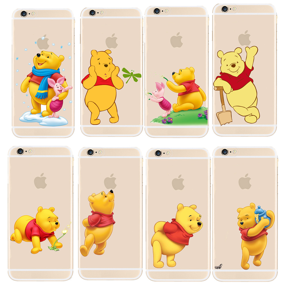 Super Cute Winnie Pooh Design Transparent PC Case Cover  For Apple iphone 4 4S 5 5S 5C 6 6S Plus Shell winnie the pooh iphone case