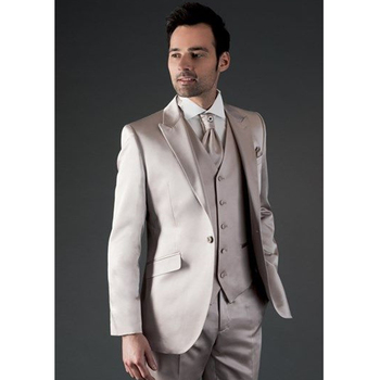 Custom Made Champagne Satin Men Suits Slim Fit 3 Pieces Men Blazer Groom Tuxedos Prom/Party Suits (Jacket+Pant+Vest)
