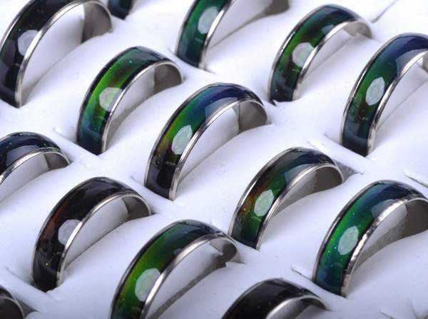 Wholesale Jewelery Bulks 10pcs Mixed Change Color Silver Color Mood Rings(China)