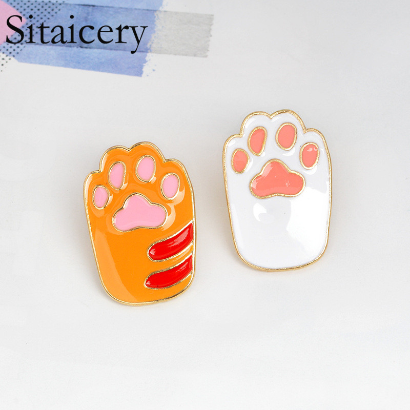 Sitaicery Orange,White,Black,Gray Paw Enamel Pins Brooches Badges Lapel Pin Denim Jackets Jeans Accessories Jewelry Insignes