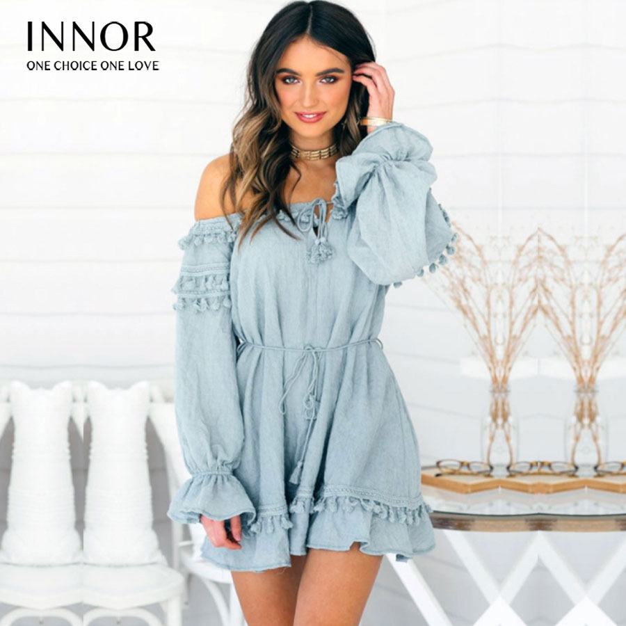 Épaule dénudée robe femmes été Slash cou à manches courtes imprimé Floral Boho plage robe boutons chemise courte Mini robe d'été