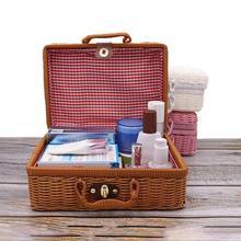 Vintage portátil hecho a mano de ratán tejido caja de almacenamiento de maquillaje de viaje Picnic equipaje cesta titular maleta artículos diversos caja organizadora