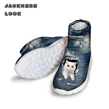 Jackherelook милые синие джинсы кошка с Для женщин Ботинки Мех теплые зимние высокие Обувь для дамы ковбой Обувь для девочек зимние Ботильоны
