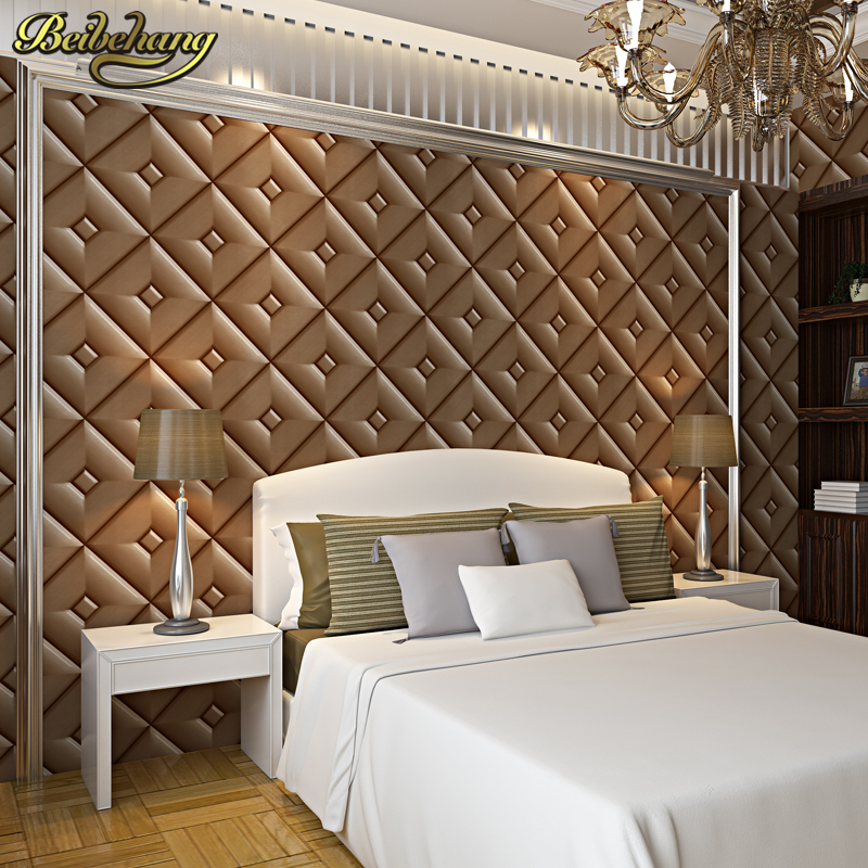 beibehang leather soft package  Wall covering Wall Paper 3d flooring Wallpaper Roll Matte Papel De Parede 3D Home Living Room