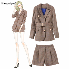 Plus Size Casual Two Piece Set Women Suits Winter Autumn 2018 Suit Plaid Top and Short Pants 2 Elegant