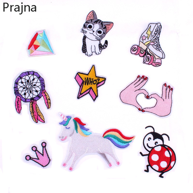 1PCS Motorcycle Unicorn Letter Patch Cat Kids Iron On Cartoon Patches Cheap Embroidered Cute Patches For Clothes Jeans Applique signs