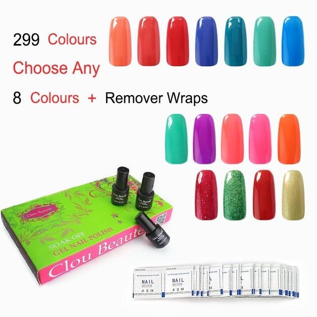 Clou Beaute Custom Design SONP Any 8 Colors & Remover Wraps*50 UV Nail Gel Polish Soak Off UV Led Polish Gel Nail Art