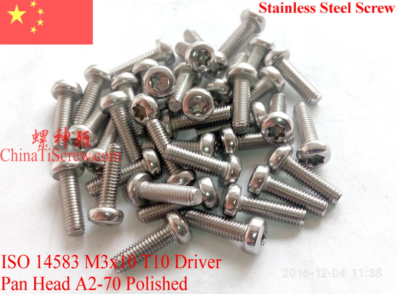 Stainless Steel screws M3x10  Torx 10 Driver ISO 14583 Pan Head A2-70 Polished ROHS 100 pcs