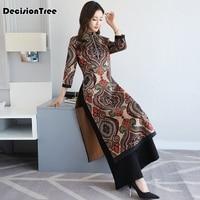 2019 summer short aodai vietnam dress for women traditional clothing ao dai dress oriental dress chinese cheongsam