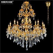 цена Luxurious Gold Large Crystal Chandelier Lamp Crystal Lustre Light Fixture 3 tiers 29 Arms Hotel Lamp MD3034 D1200mm H1450mm онлайн в 2017 году