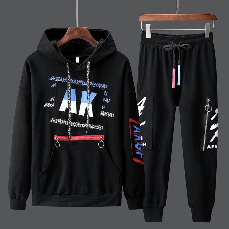 Paragraph Lang Legendary Sweatshirt Men Sets Fashion Sporting Suit Hoodies pants suit 2 Pieces Sets Slim Hip Hop Streetwear in Men 39 s Sets from Men 39 s Clothing