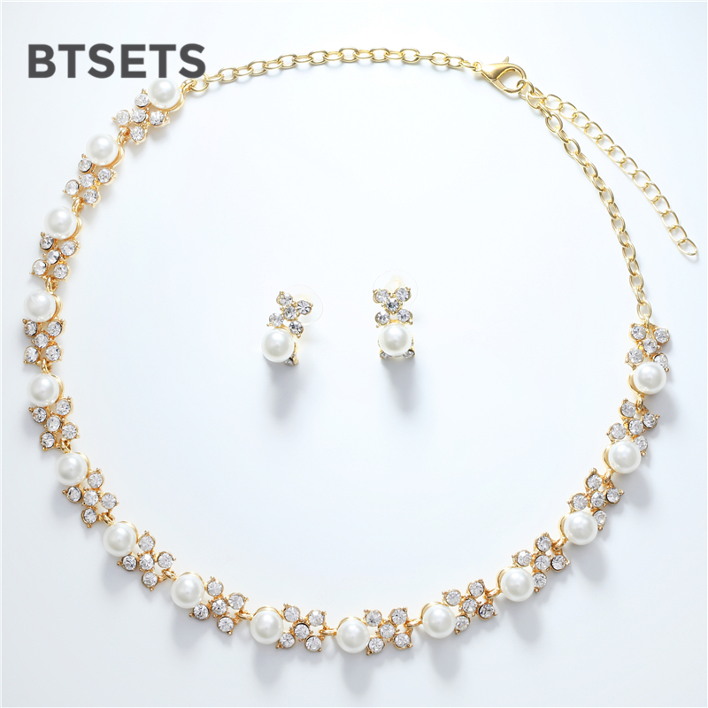 BTSETS Bridal Jewelry Sets Simulated Pearl Fashion African Beads Jewelry Set Women Wedding Indian Luxury Jewellery Set