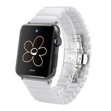 Venda de reloj de cerámica para apple watch 38mm 42mm venda de reloj enlace correa inteligente pulsera links cerámica venda de reloj para iwatch awfcb