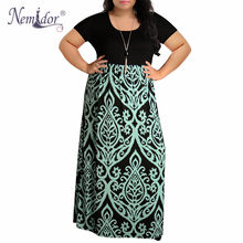 5dbe2c700e381 Nemidor 2019 Women O-neck Short Sleeve Patchwork Casual Dress Plus Size 7XL  8XL 9XL Vintage Chevron Print Loose Long Maxi Dress