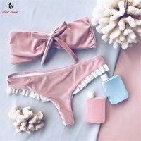 Ariel Sarah Cute Bikini Set Sexy Pink Swimwear Solid Women Swimsuit Chest Bandage Bathing Suit Halter