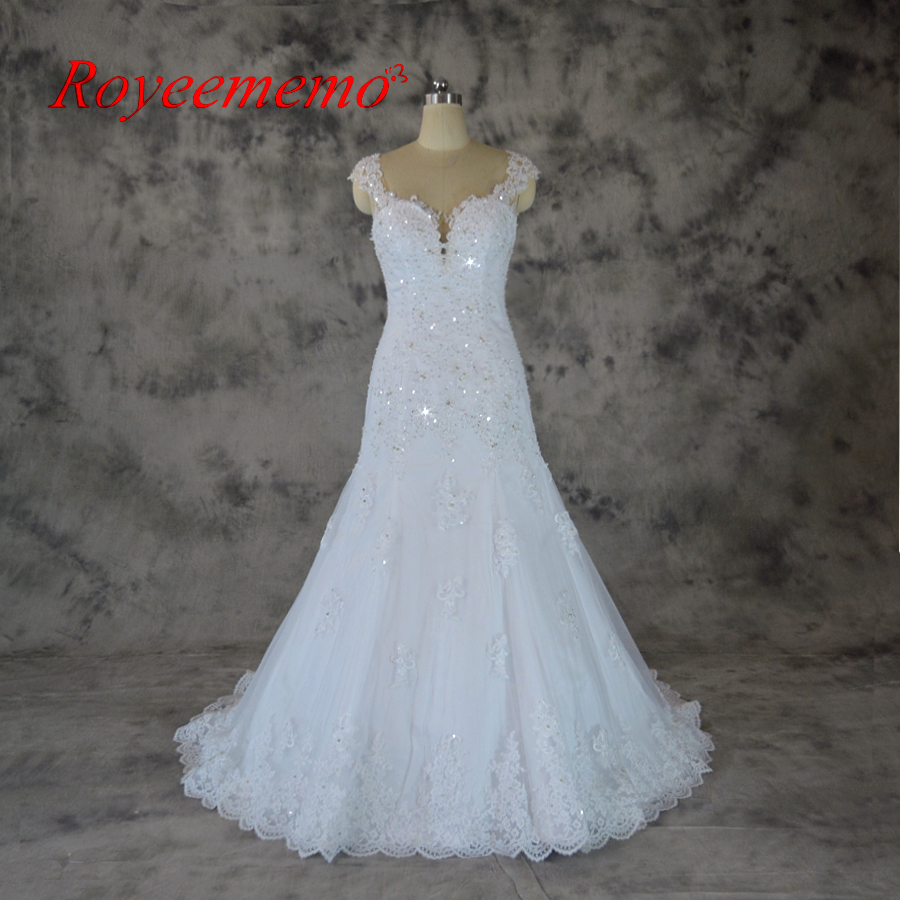 Shinny Heavy Beaded Wedding Dress A line Real Photos wedding gown ...