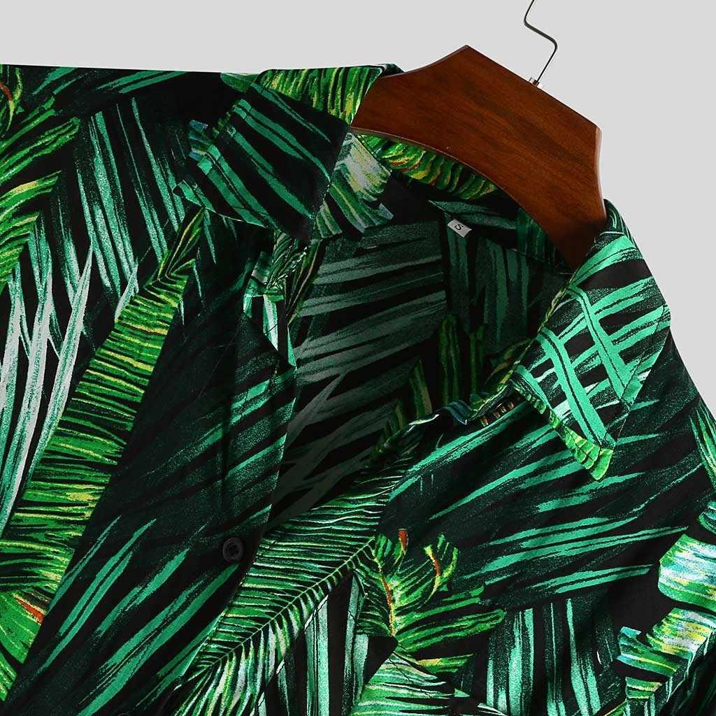Hemd männer 2020 Ethnischen Stil Druck Männer T-shirt Kurzarm revers Kragen Casual Tops Lose Vintage Strand Männer Hawaiian Shirts m-XXXL