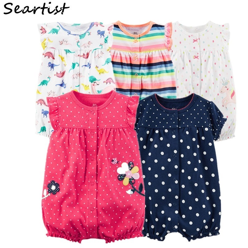 Baby Girl Clothes Bebes Summer Romper Newborn Ruffle Sleeve Jumpsuit Body Suit Girls Clothes Cotton Cute 2018 New 43G