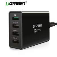 Ugreen Qualcomm Quick Charge 3.0 4 Ports Smart Mobile Phone Charger Desktop USB Charger for iPhone Samsung Xiaomi Fast Charger