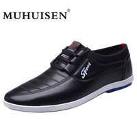 MUHUISEN Brand Vintage Style Men Casual Shoes High Quality Soft Leather Lace Up Breathable Loafers Flats