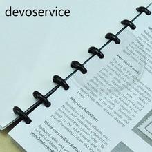 100PCS Plastic 18mm Inner Diameter Book Binding Rings Loose Leaf Notebook Ring Office School Supplies Black Round