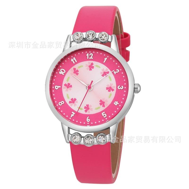 New Arrival Simple Creativity Kids Children Watch Cute Girls Ladies Diamond Rosette Flower Wrist Watches Relogio Kol Saati