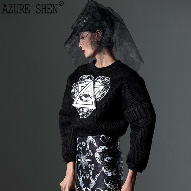 [AZURESHEN] 2018 Spring Winter New Series Print Black Eye Of Wisdom Customization Cloth Fashion Sweatshirt For Women AZ41