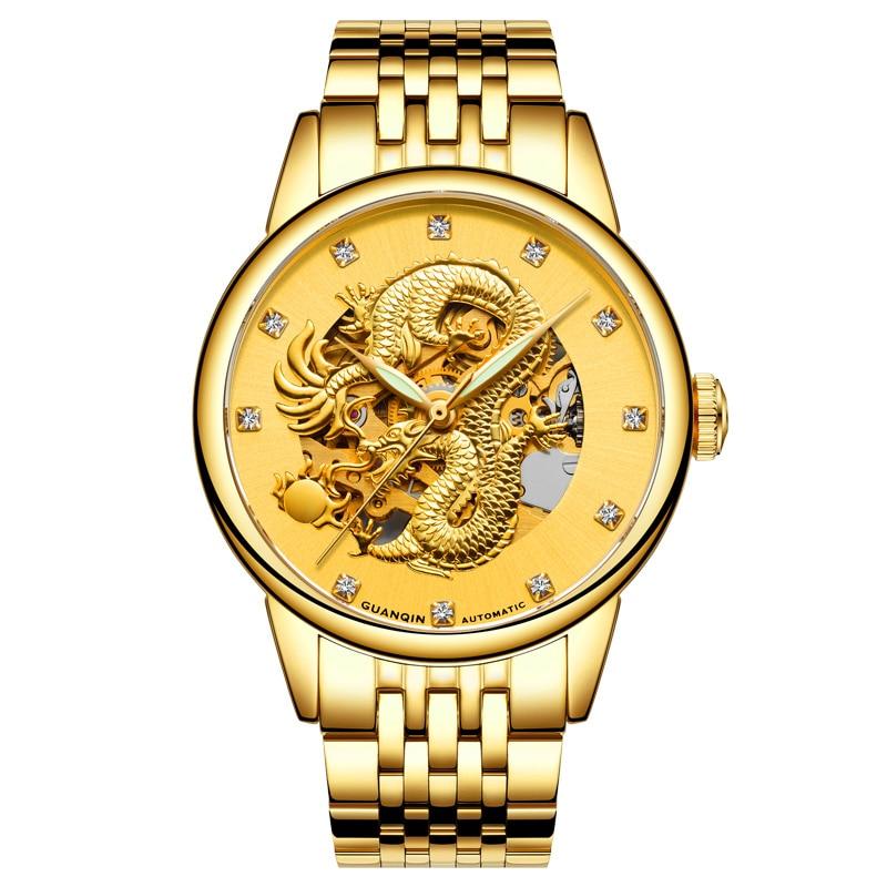 Skeleton watch GUANQIN Fashion Creative Dial Men Wristwatch Top brand Automatic Watch Men Sapphire Luminous Mechanical watches цена 2017