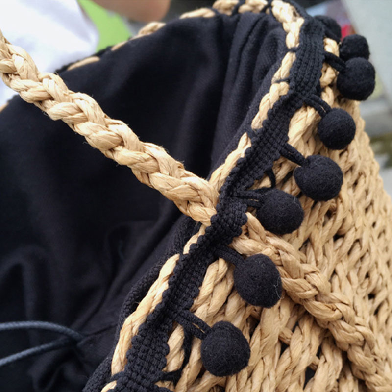 REREKAXI New Bohemian Beach Bag for Women Cute Handmade Straw Bags Summer Grass Handbags Drawstring Basket Bag Travel Tote 11