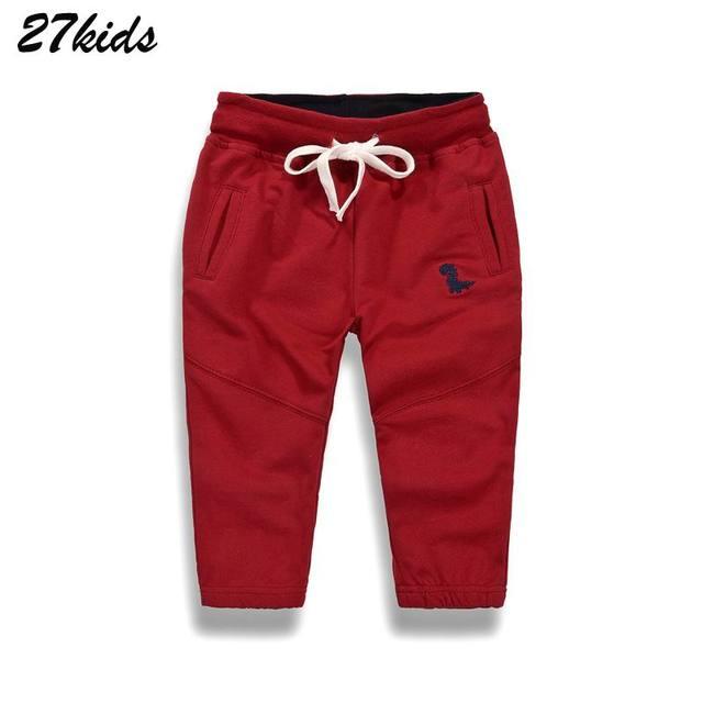 27kids Autumn Sport Boys Pants Dinasour Embroidery Girls Trousers 2-9Year Children Pants winter Sweatpants 2